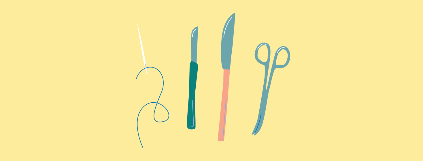Needle, scalpel and other instruments of surgery