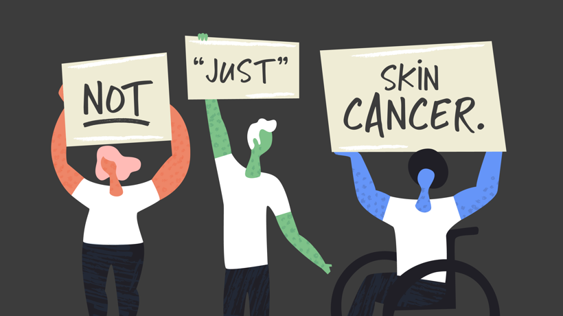People hold signs saying not just skin cancer