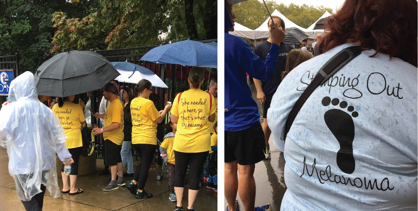 A group of people gathered under umbrellas with shirts supporting skin cancer awareness