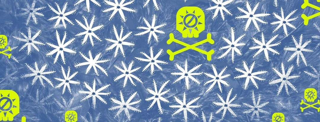 baby coral are menaced by a skull and crossbones with a sunscreen icon on them