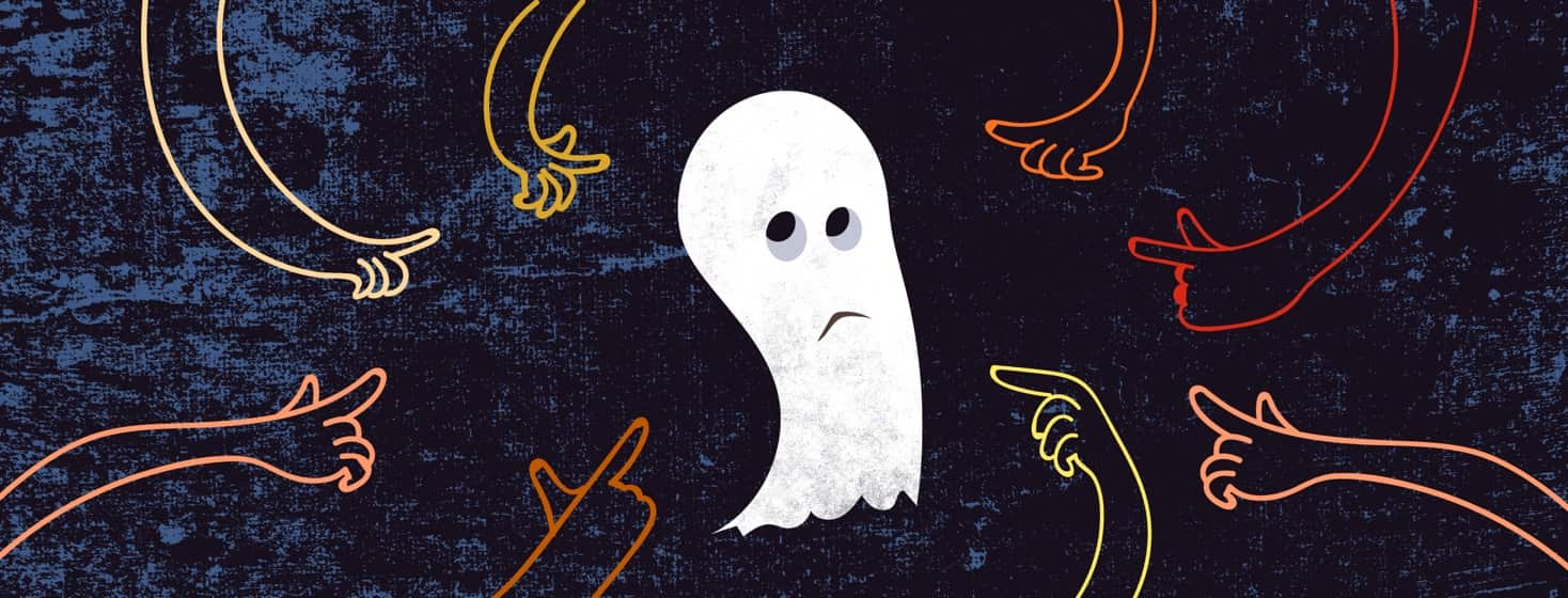 A sad ghost is pointed at by multicolored fingers