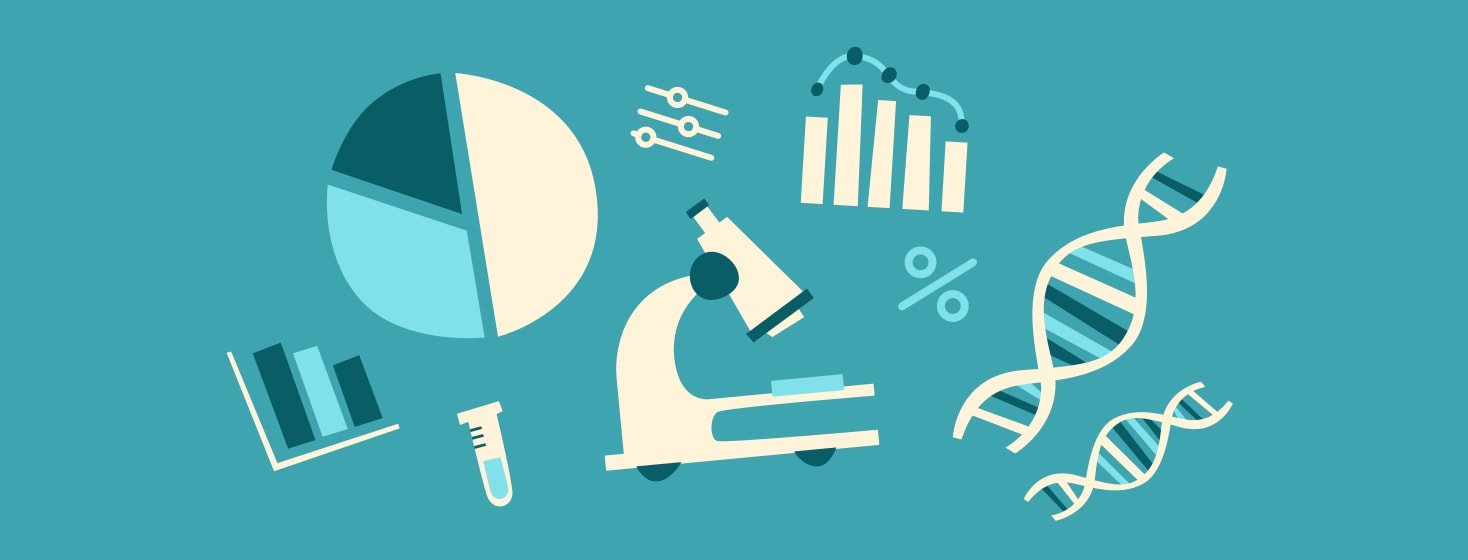 A microscope, bar graph, pie graph, and DNA strands in a collage on a teal background.