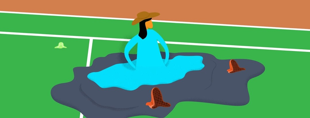 a woman melting on a tennis court while her clothes stay the same size