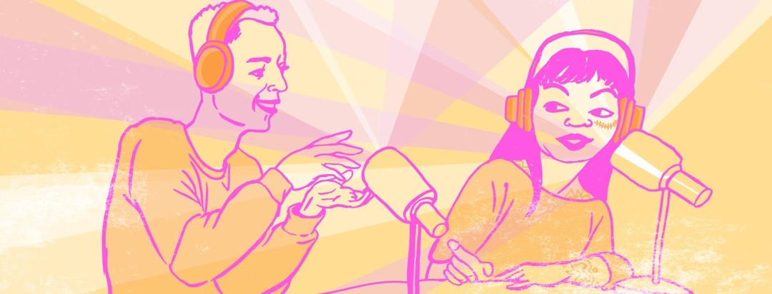 Two young people wear headphones and speak into microphones