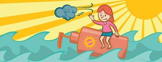 a woman floats in the ocean on a huge bottle of sunscreen and waves good bye to a sad cloud