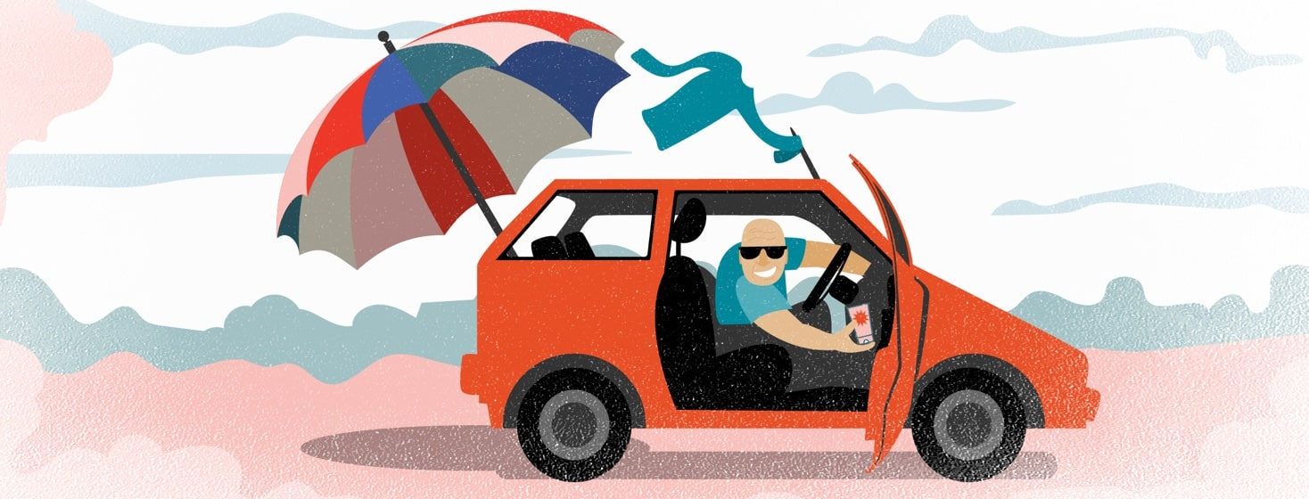 a man in a car holds up a bottle of sunscreen while a SPF shirt and an umbrella fall out of the back of the car