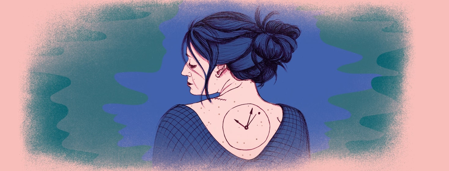 a woman glances over her shoulder at a clock tattoo on her back. The clock hands point to an odd mole.