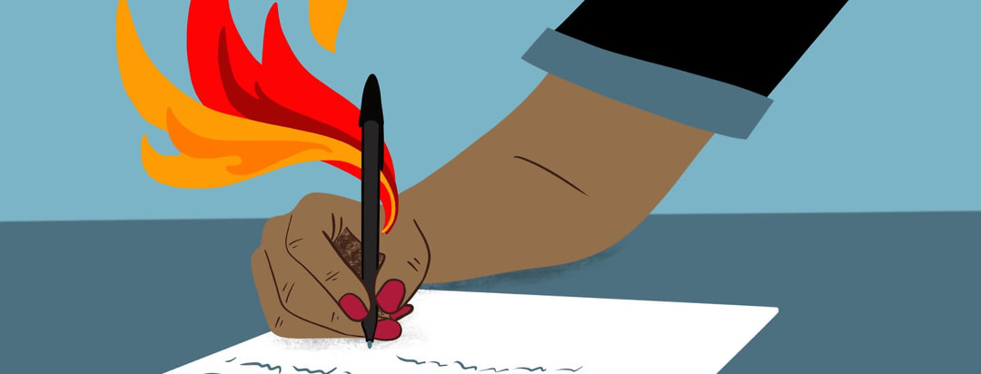 a hand on fire while it writes a letter