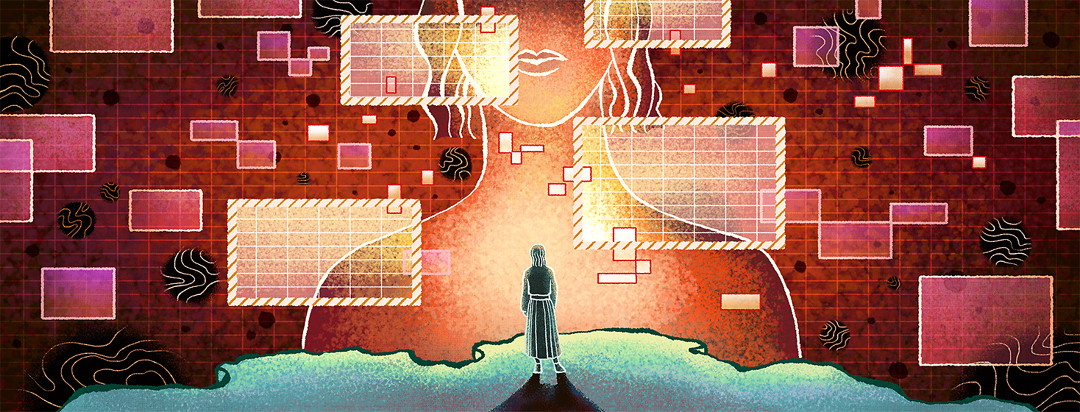 A lone woman stands on the edge of a cliff. In the void beyond, a giant hologram of herself appears with alarming pop-ups.