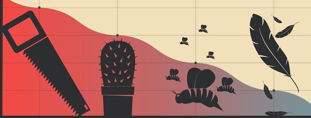 a pain chart ranging from a saw, to a cactus, to bees, to feathers