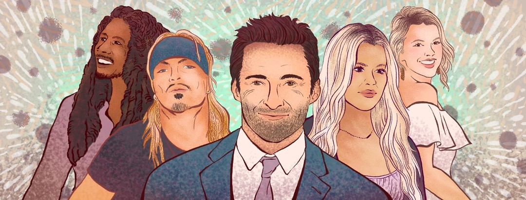 Portrait of five celebrities who have experienced skin cancer. From left to right: Bob Marley, Bret Michaels, High Jackman, Khloe Kardashian, Ali Fedotowsky-Manno