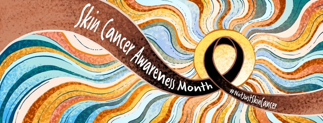 """A brownish-black ribbon, with the words """"Skin Cancer Awareness Month, #NotJustSkinCancer"""", loops over a sun that is emitting harsh rays of light."""
