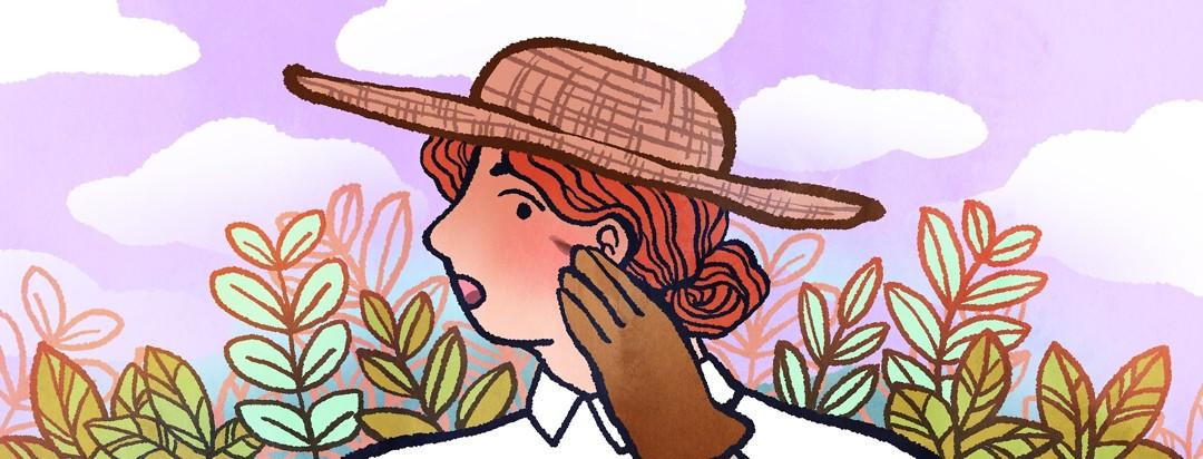 A woman in gardening gear is worried about a strange mark on her cheek.