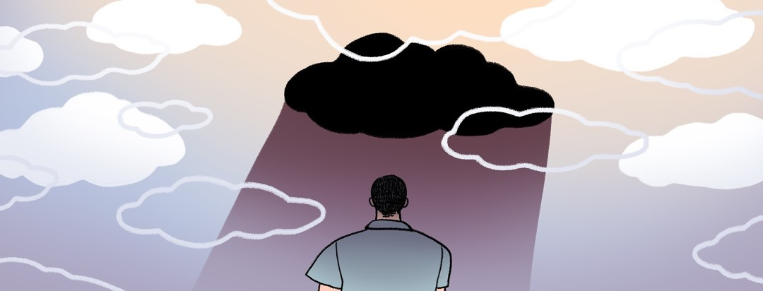 Among a sky of white clouds, a man is overshadowed by a single dark cloud.