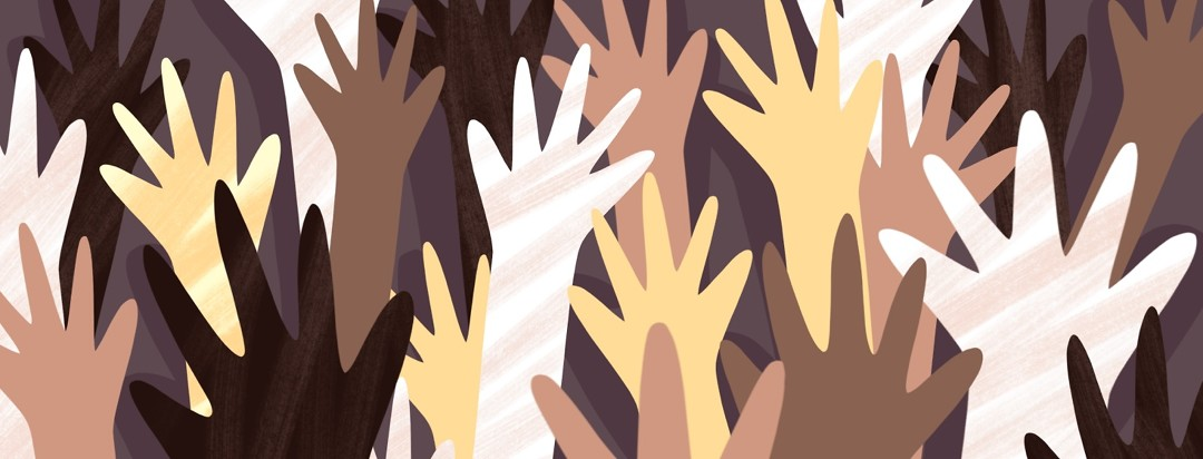 Various hands of diverse races raise into the air.
