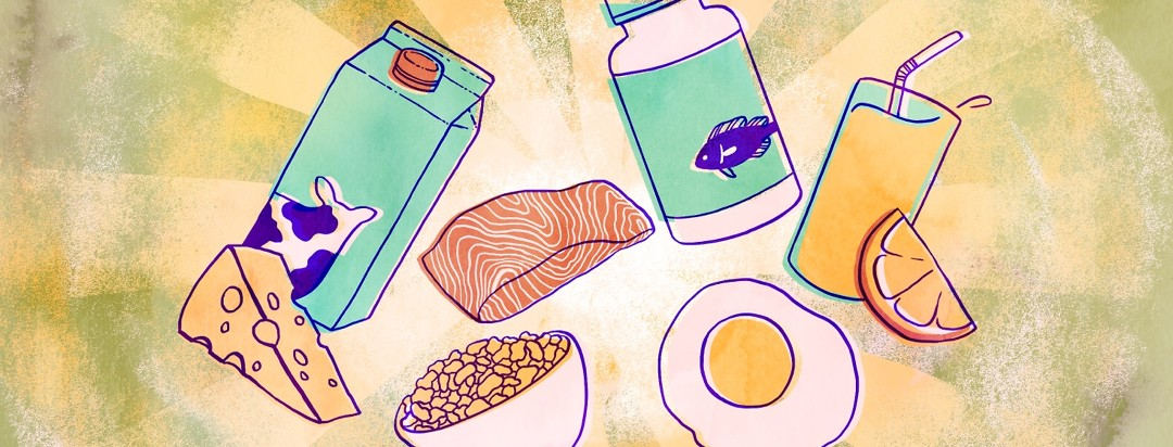 Foods and supplements that contain vitamin D float in front of a shining background.