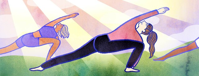 Outdoors, a woman in long sleeves and pants does a yoga pose with a worried expression.