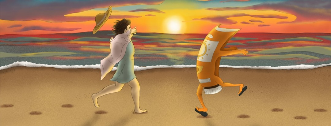 Bottle of sunscreen and person running toward each other on a beach at sunset