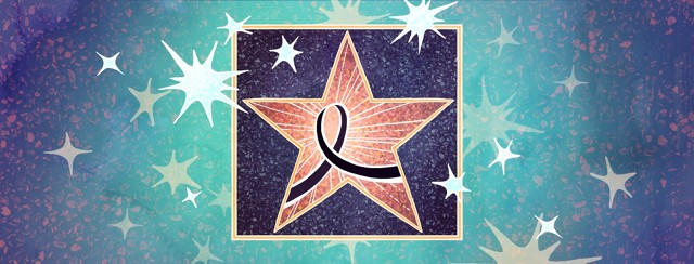 Instead of a name, a Hollywood walk of fame star contains a Skin Cancer awareness ribbon in a sparkling sky.