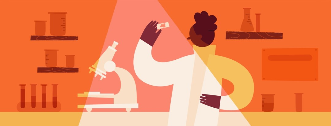 A woman in a lab coat holding up a microscope slide.
