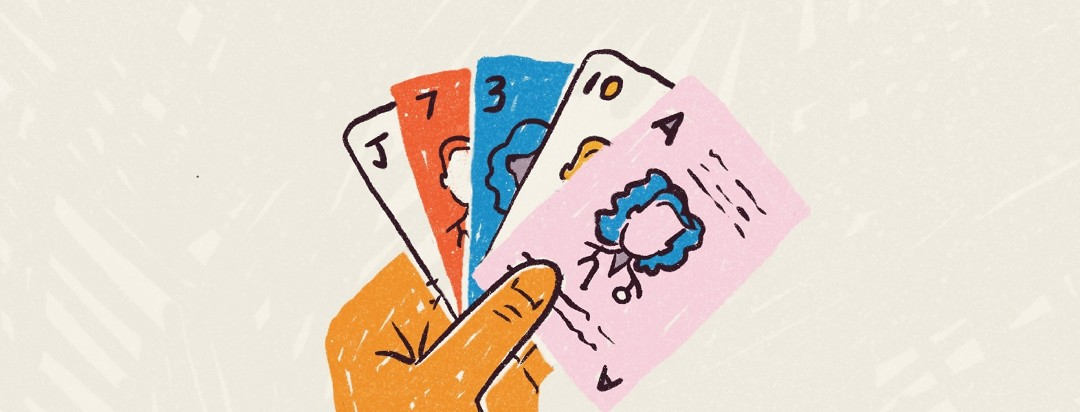 A hand holds five different playing cards with different doctors on them.