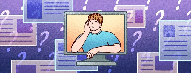 A man inside a computer looks at web browser pages and question marks around him.