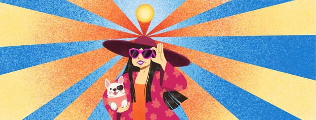 Fashionable adult female holding small dog. Both of them are wearing sun protective clothing. Her hat is reflecting the UV rays from the sun. POC, East Asian