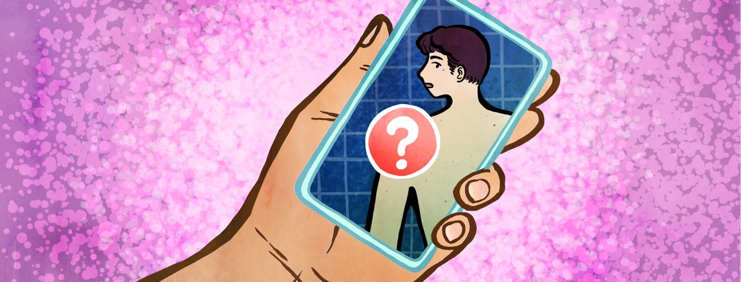 A hand holds a smartphone, which shows an image of a man with a large red circle and question mark over his shoulder.