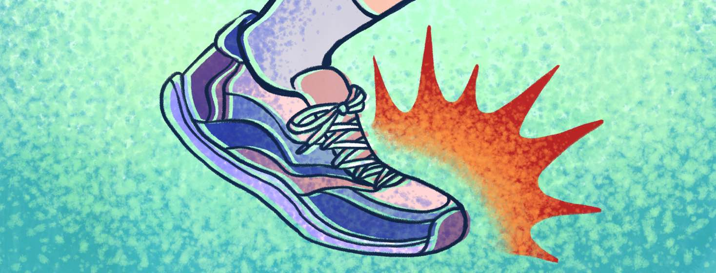 A spiky shockwave emanates from the toe area of a person's shoe.