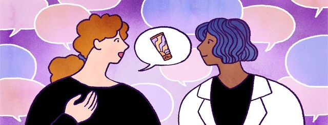 A woman talks to a dermatologist with speech bubbles all around them.
