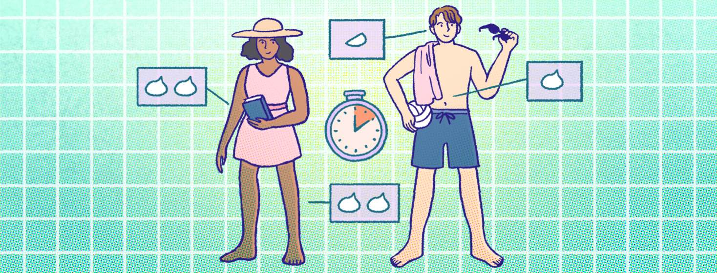 A man and woman in swimwear stand next to diagrams showing how much sunscreen to use on each area of the body.