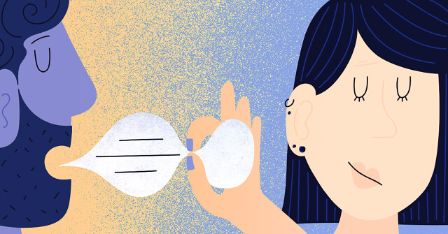 A woman pinches a speech bubble being spoken by a man.