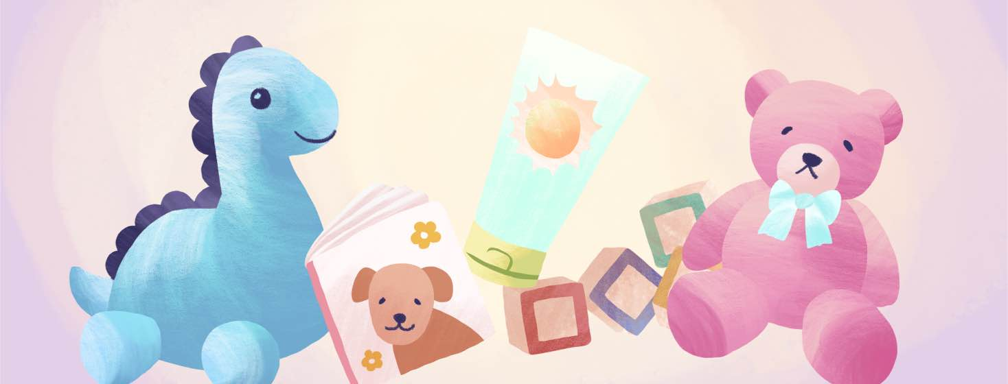 A bottle of sunscreen next to a collection of stuffed animals and other toys.