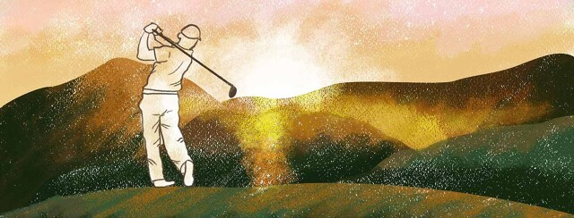 Man golfing as the sun sets.