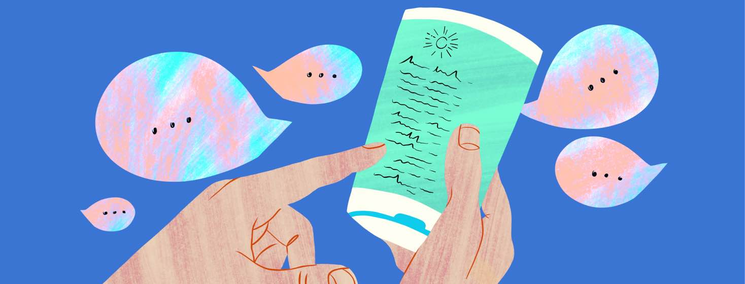 Hands holding a sunscreen bottle and pointing to the ingredients list while speech bubbles float around.