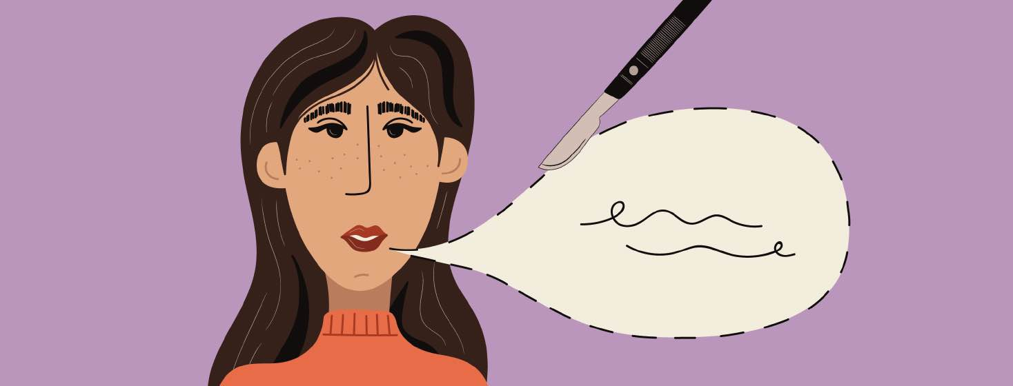 a woman talking while a scalpel cuts on the dotted line of a speech bubble