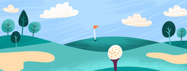 Golf ball on a tee with the hole far in the distance, playing the long game, golfing, golf course, distant goals,