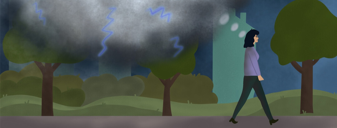 woman walking outside as a stormy thought bubble with lighting follows behind her.