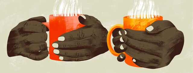Two sets of hands each hold a mug full of a steaming beverage.