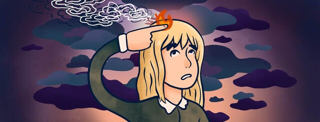 A woman points her finger at a flaming spot on her head.