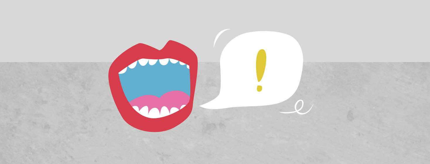 A mouth next to a speech bubble with an exclamation point in it.