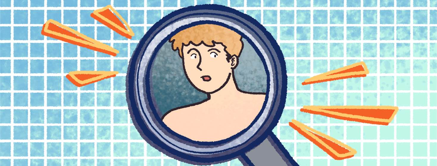 A magnifying glass hovers over a man.