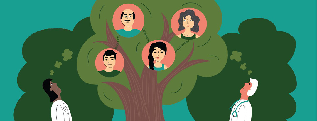 Doctors looking up into a tree with linked portraits of family members in the branches.