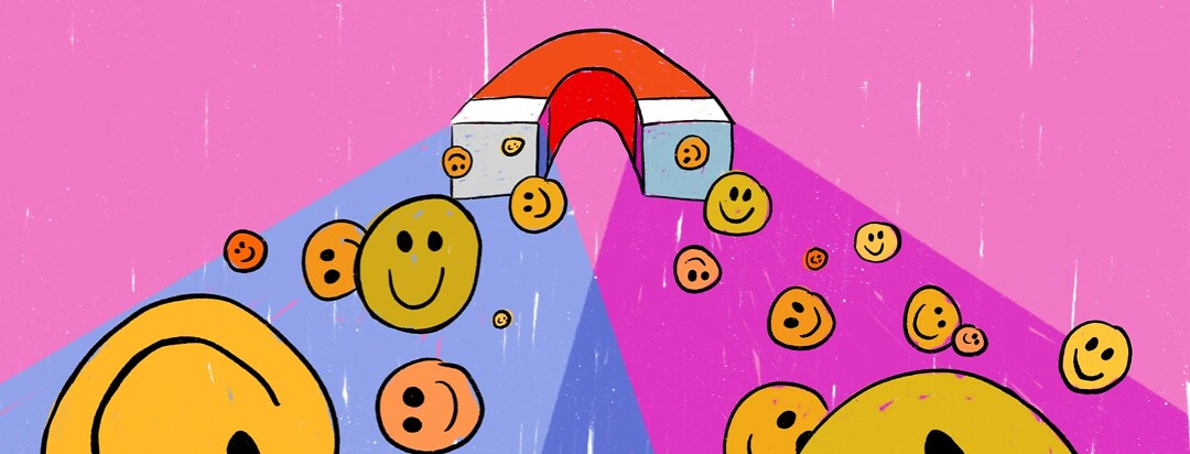 Magnet drawing smiley faces into the image